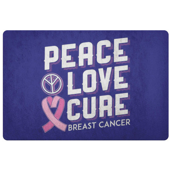 Peace Love Cure Breast Cancer Awareness 18X26 Thin Indoor Door Mat Entryway Rug-Doormat-Navy-JoyHip.Com