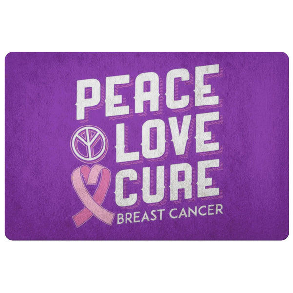 Peace Love Cure Breast Cancer Awareness 18X26 Thin Indoor Door Mat Entryway Rug-Doormat-Purple-JoyHip.Com