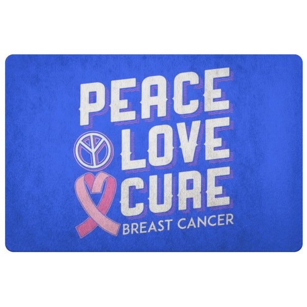 Peace Love Cure Breast Cancer Awareness 18X26 Thin Indoor Door Mat Entryway Rug-Doormat-Royal Blue-JoyHip.Com