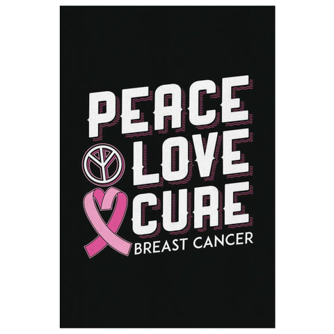 Peace Love Cure Breast Cancer Awareness Canvas Wall Art Room Decor Home Gifts-Canvas Wall Art 2-8 x 12-JoyHip.Com