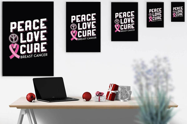 Peace Love Cure Breast Cancer Awareness Canvas Wall Art Room Decor Home Gifts-Canvas Wall Art 2-JoyHip.Com