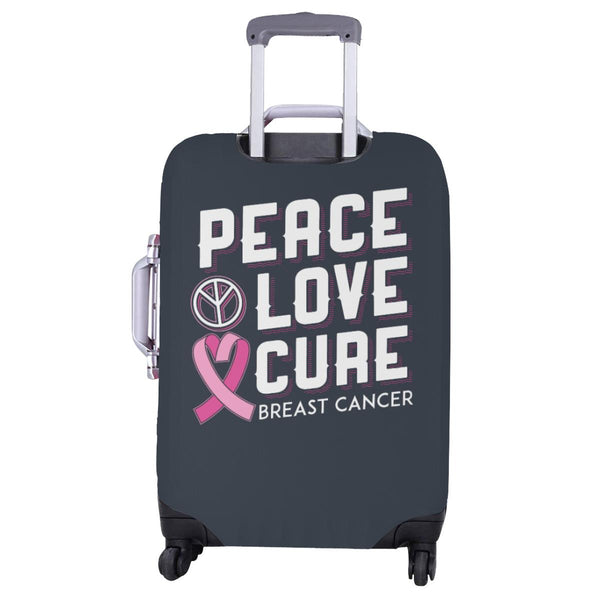 "Peace Love Cure Breast Cancer Travel Luggage Cover Suitcase Protector 18""-28""-JoyHip.Com"