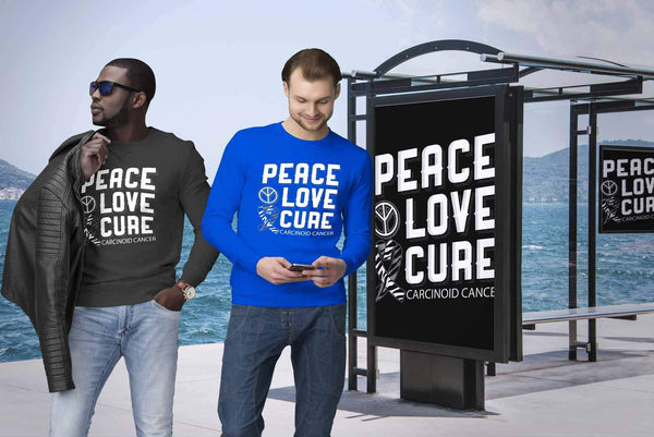 Peace Love Cure Carcinoid Cancer Awareness Zebra Stripe Ribbon Gift Idea Sweater-T-shirt-JoyHip.Com