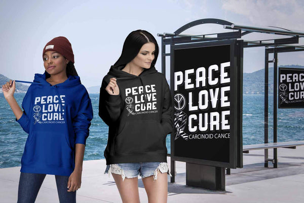 Peace Love Cure Carcinoid Cancer Awareness Zebra Stripe Ribbon Gift Ideas Hoodie-T-shirt-JoyHip.Com