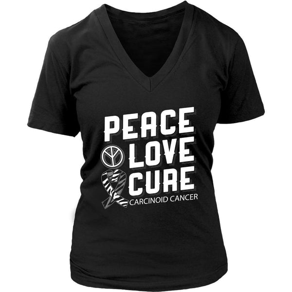 Peace Love Cure Carcinoid Cancer Awareness Zebra Stripe Ribbon Gift VNeck TShirt-T-shirt-District Womens V-Neck-Black-JoyHip.Com
