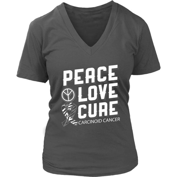 Peace Love Cure Carcinoid Cancer Awareness Zebra Stripe Ribbon Gift VNeck TShirt-T-shirt-District Womens V-Neck-Grey-JoyHip.Com