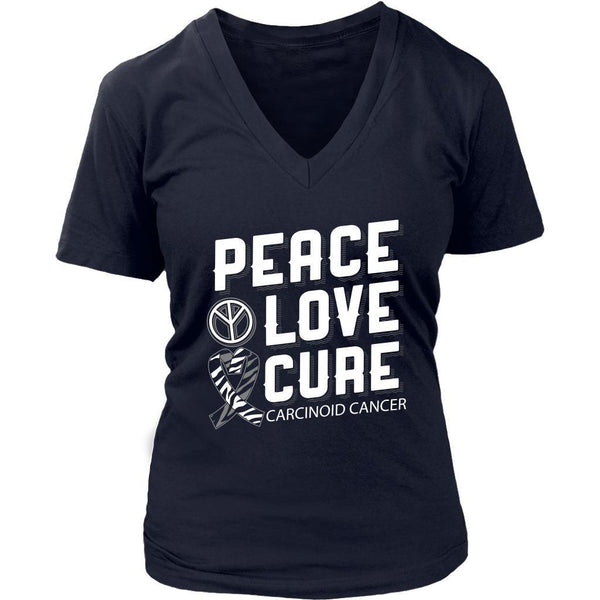 Peace Love Cure Carcinoid Cancer Awareness Zebra Stripe Ribbon Gift VNeck TShirt-T-shirt-District Womens V-Neck-Navy-JoyHip.Com