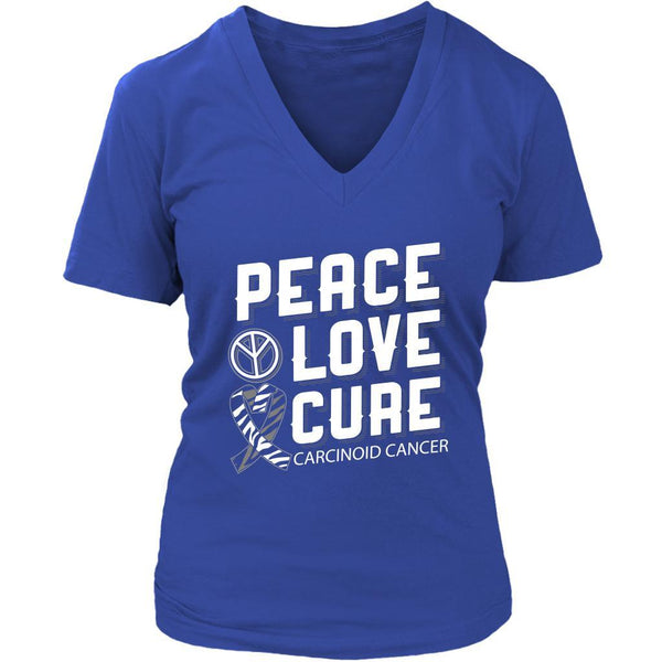 Peace Love Cure Carcinoid Cancer Awareness Zebra Stripe Ribbon Gift VNeck TShirt-T-shirt-District Womens V-Neck-Royal Blue-JoyHip.Com