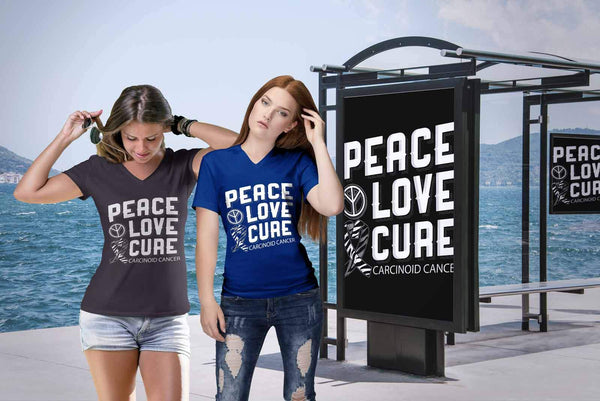 Peace Love Cure Carcinoid Cancer Awareness Zebra Stripe Ribbon Gift VNeck TShirt-T-shirt-JoyHip.Com