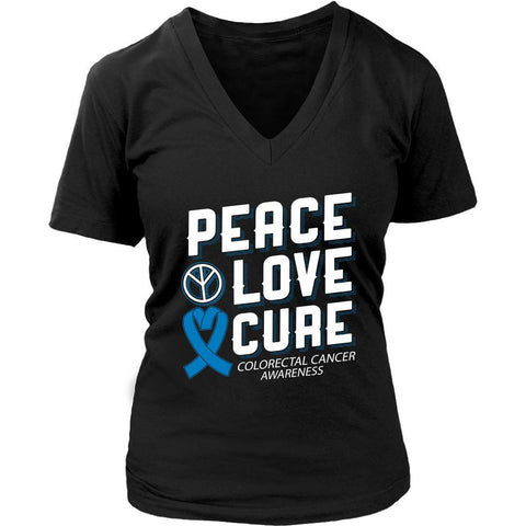 Peace Love Cure Colorectal Cancer Awareness Blue Ribbon Gift VNeck TShirt-T-shirt-District Womens V-Neck-Black-JoyHip.Com