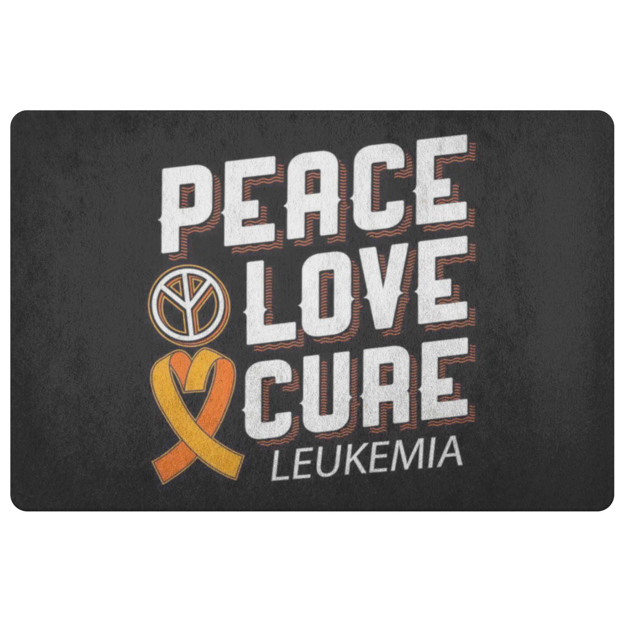 Peace Love Cure Leukemia Cancer Awareness 18X26 Thin Indoor Door Mat Entry Rug-Doormat-Black-JoyHip.Com