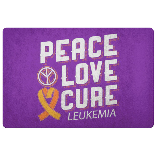 Peace Love Cure Leukemia Cancer Awareness 18X26 Thin Indoor Door Mat Entry Rug-Doormat-Purple-JoyHip.Com