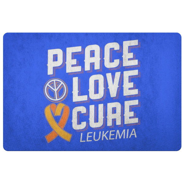 Peace Love Cure Leukemia Cancer Awareness 18X26 Thin Indoor Door Mat Entry Rug-Doormat-Royal Blue-JoyHip.Com