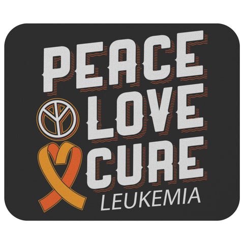 Peace Love Cure Leukemia Cancer Awareness Comfort Gift Chemo Patient Mouse Pad-Mousepads-Black-JoyHip.Com
