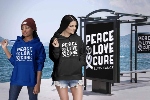 Peace Love Cure Lung Cancer Awareness White Ribbon Gift Ideas Hoodie-T-shirt-JoyHip.Com