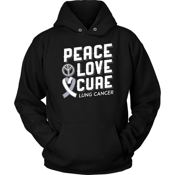 Peace Love Cure Lung Cancer Awareness White Ribbon Gift Ideas Hoodie-T-shirt-Unisex Hoodie-Black-JoyHip.Com