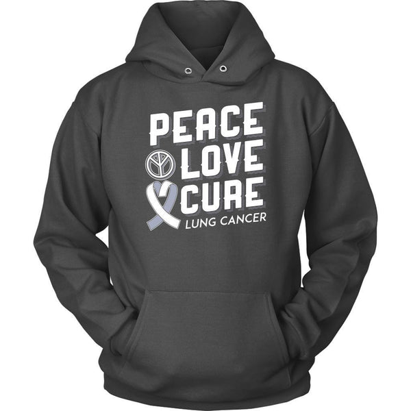 Peace Love Cure Lung Cancer Awareness White Ribbon Gift Ideas Hoodie-T-shirt-Unisex Hoodie-Grey-JoyHip.Com