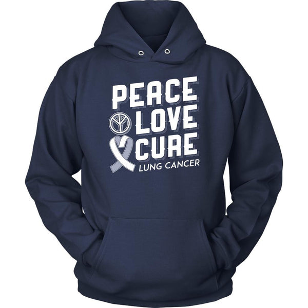 Peace Love Cure Lung Cancer Awareness White Ribbon Gift Ideas Hoodie-T-shirt-Unisex Hoodie-Navy-JoyHip.Com
