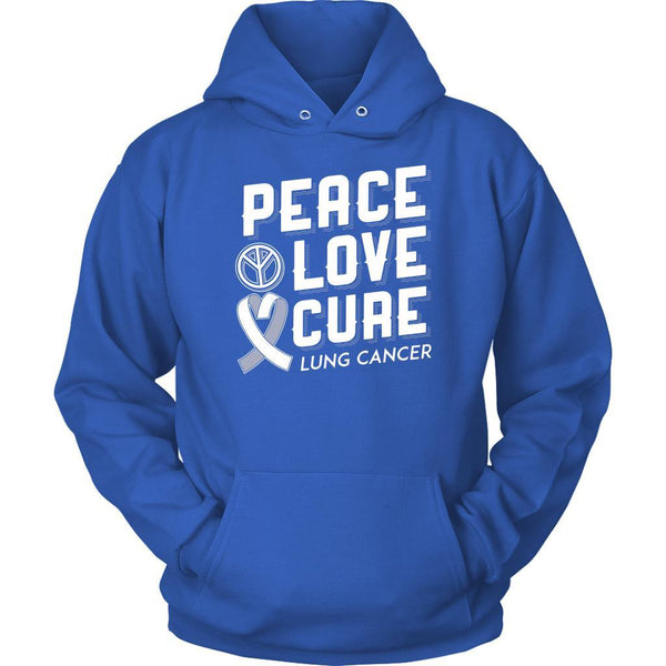 Peace Love Cure Lung Cancer Awareness White Ribbon Gift Ideas Hoodie-T-shirt-Unisex Hoodie-Royal Blue-JoyHip.Com