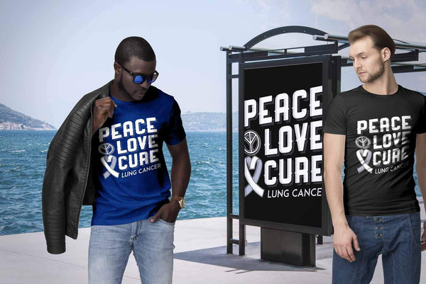 Peace Love Cure Lung Cancer Awareness White Ribbon Gift Ideas TShirt-T-shirt-JoyHip.Com