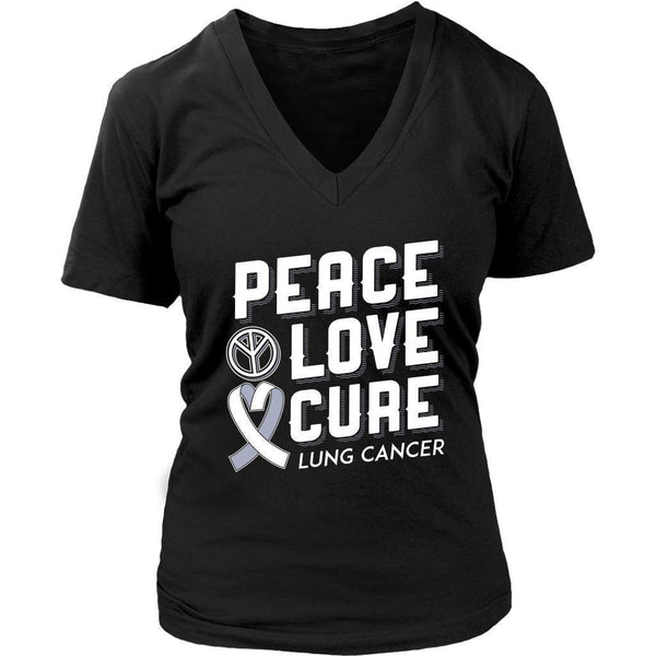 Peace Love Cure Lung Cancer Awareness White Ribbon Gift VNeck TShirt-T-shirt-District Womens V-Neck-Black-JoyHip.Com