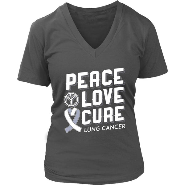 Peace Love Cure Lung Cancer Awareness White Ribbon Gift VNeck TShirt-T-shirt-District Womens V-Neck-Grey-JoyHip.Com