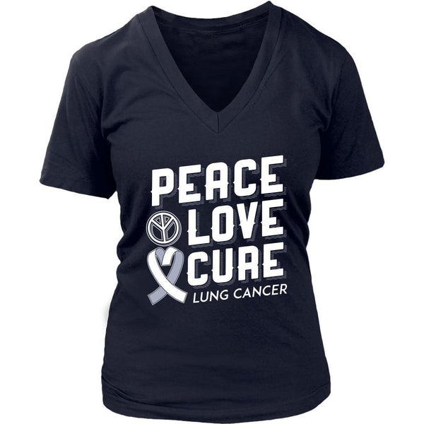 Peace Love Cure Lung Cancer Awareness White Ribbon Gift VNeck TShirt-T-shirt-District Womens V-Neck-Navy-JoyHip.Com