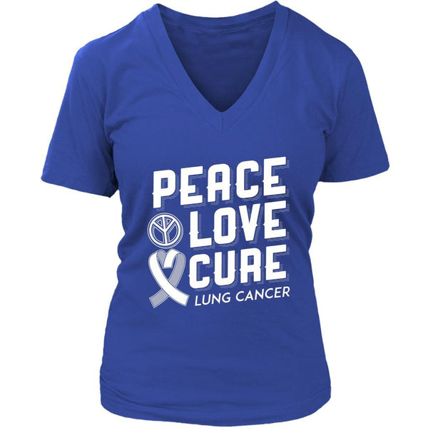 Peace Love Cure Lung Cancer Awareness White Ribbon Gift VNeck TShirt-T-shirt-District Womens V-Neck-Royal Blue-JoyHip.Com