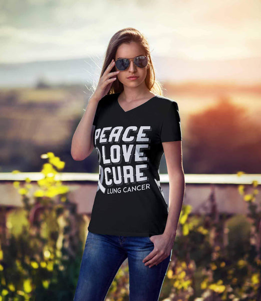 Peace Love Cure Lung Cancer Awareness White Ribbon Gift VNeck TShirt-T-shirt-JoyHip.Com