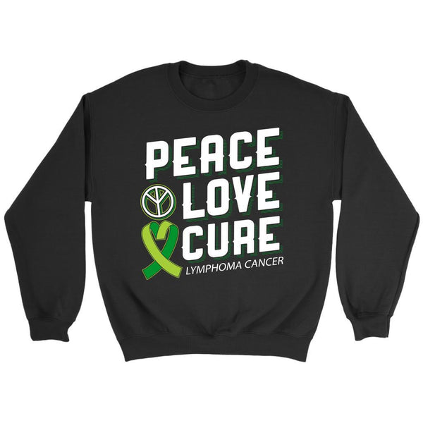 Peace Love Cure Lymphoma Awareness Lime Green Ribbon Awesome Gift Ideas Sweater-T-shirt-Crewneck Sweatshirt-Black-JoyHip.Com