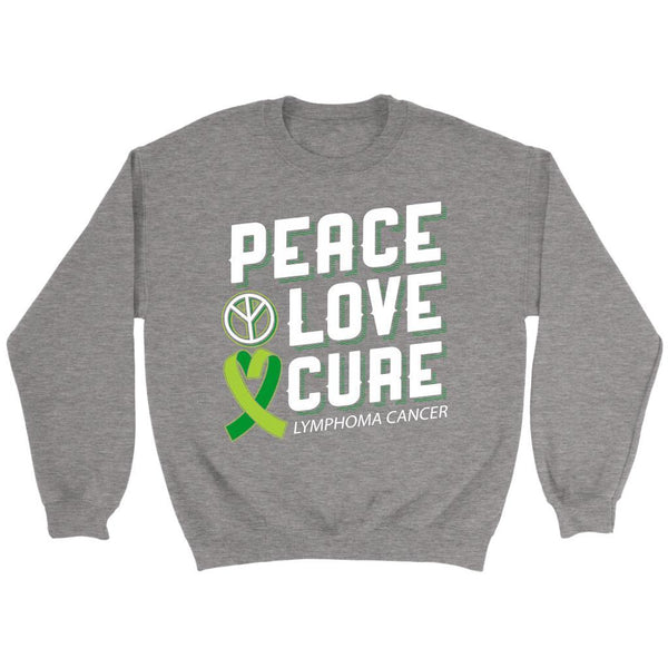 Peace Love Cure Lymphoma Awareness Lime Green Ribbon Awesome Gift Ideas Sweater-T-shirt-Crewneck Sweatshirt-Grey-JoyHip.Com