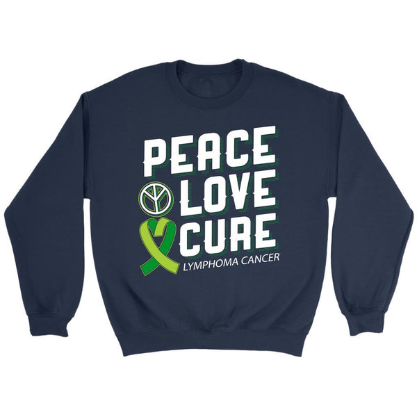 Peace Love Cure Lymphoma Awareness Lime Green Ribbon Awesome Gift Ideas Sweater-T-shirt-Crewneck Sweatshirt-Navy-JoyHip.Com