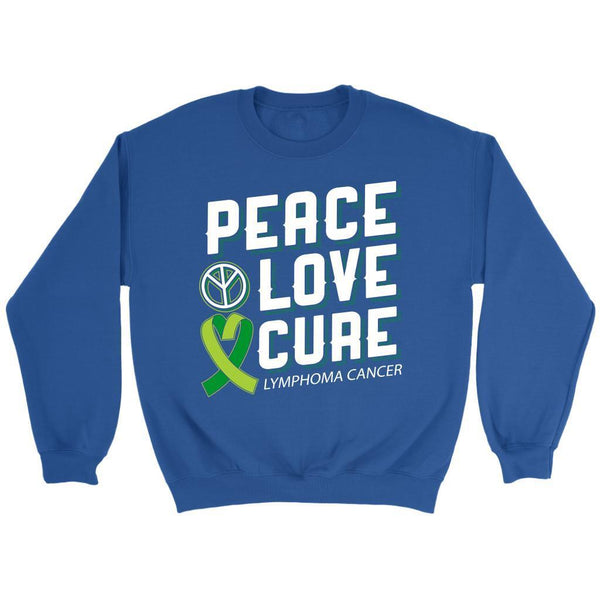 Peace Love Cure Lymphoma Awareness Lime Green Ribbon Awesome Gift Ideas Sweater-T-shirt-Crewneck Sweatshirt-Royal Blue-JoyHip.Com