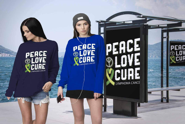 Peace Love Cure Lymphoma Awareness Lime Green Ribbon Awesome Gift Ideas Sweater-T-shirt-JoyHip.Com