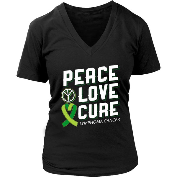 Peace Love Cure Lymphoma Awareness Lime Green Ribbon Awesome Gift VNeck TShirt-T-shirt-District Womens V-Neck-Black-JoyHip.Com