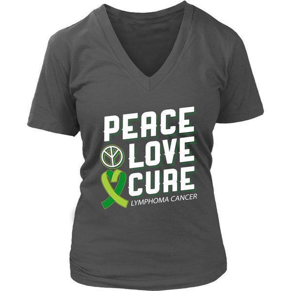 Peace Love Cure Lymphoma Awareness Lime Green Ribbon Awesome Gift VNeck TShirt-T-shirt-District Womens V-Neck-Grey-JoyHip.Com