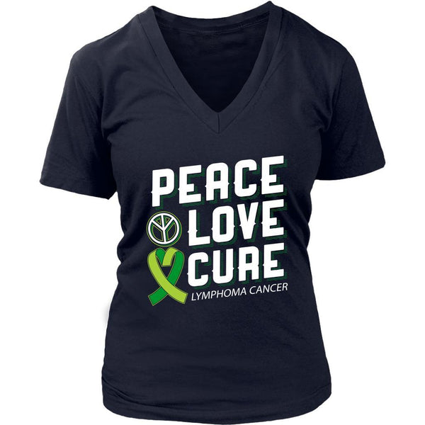 Peace Love Cure Lymphoma Awareness Lime Green Ribbon Awesome Gift VNeck TShirt-T-shirt-District Womens V-Neck-Navy-JoyHip.Com
