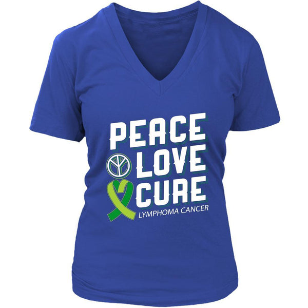 Peace Love Cure Lymphoma Awareness Lime Green Ribbon Awesome Gift VNeck TShirt-T-shirt-District Womens V-Neck-Royal Blue-JoyHip.Com