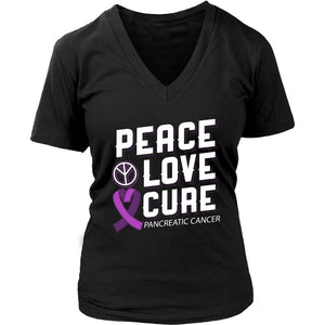 Peace Love Cure Pancreatic Cancer Awareness Purple Ribbon Awesome VNeck TShirt-T-shirt-District Womens V-Neck-Black-JoyHip.Com