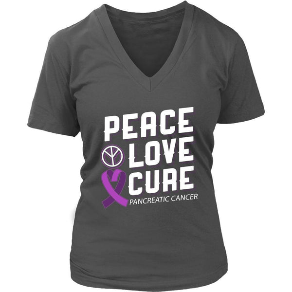Peace Love Cure Pancreatic Cancer Awareness Purple Ribbon Awesome VNeck TShirt-T-shirt-District Womens V-Neck-Grey-JoyHip.Com