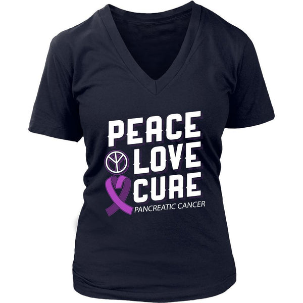 Peace Love Cure Pancreatic Cancer Awareness Purple Ribbon Awesome VNeck TShirt-T-shirt-District Womens V-Neck-Navy-JoyHip.Com