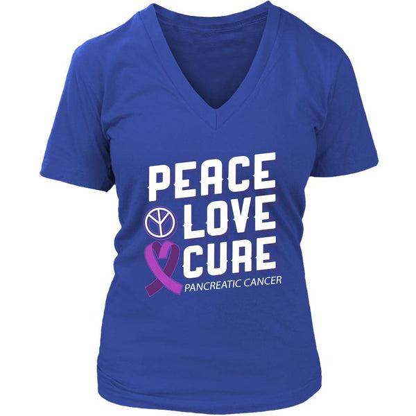 Peace Love Cure Pancreatic Cancer Awareness Purple Ribbon Awesome VNeck TShirt-T-shirt-District Womens V-Neck-Royal Blue-JoyHip.Com
