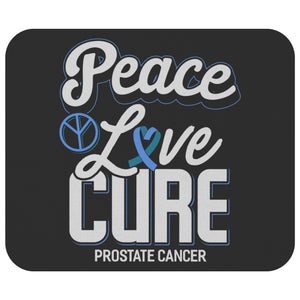 Peace Love Cure Prostate Cancer Mouse Pad Light Blue Ribbon MousePad Gift Ideas-Mousepads-Black-JoyHip.Com