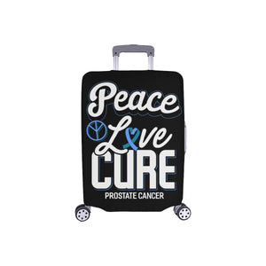 "Peace Love Cure Prostate Cancer Travel Luggage Cover Suitcase Protector 18""-28""-S-Black-JoyHip.Com"