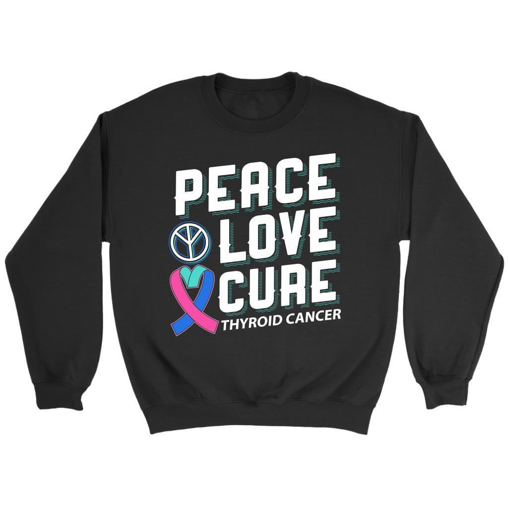 Peace Love Cure Thyroid Cancer Awareness Teal Pink & Blue Ribbon Awesome Sweater-T-shirt-Crewneck Sweatshirt-Black-JoyHip.Com