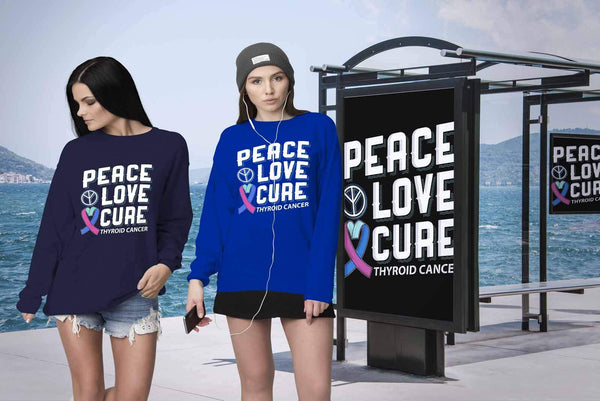 Peace Love Cure Thyroid Cancer Awareness Teal Pink & Blue Ribbon Awesome Sweater-T-shirt-JoyHip.Com