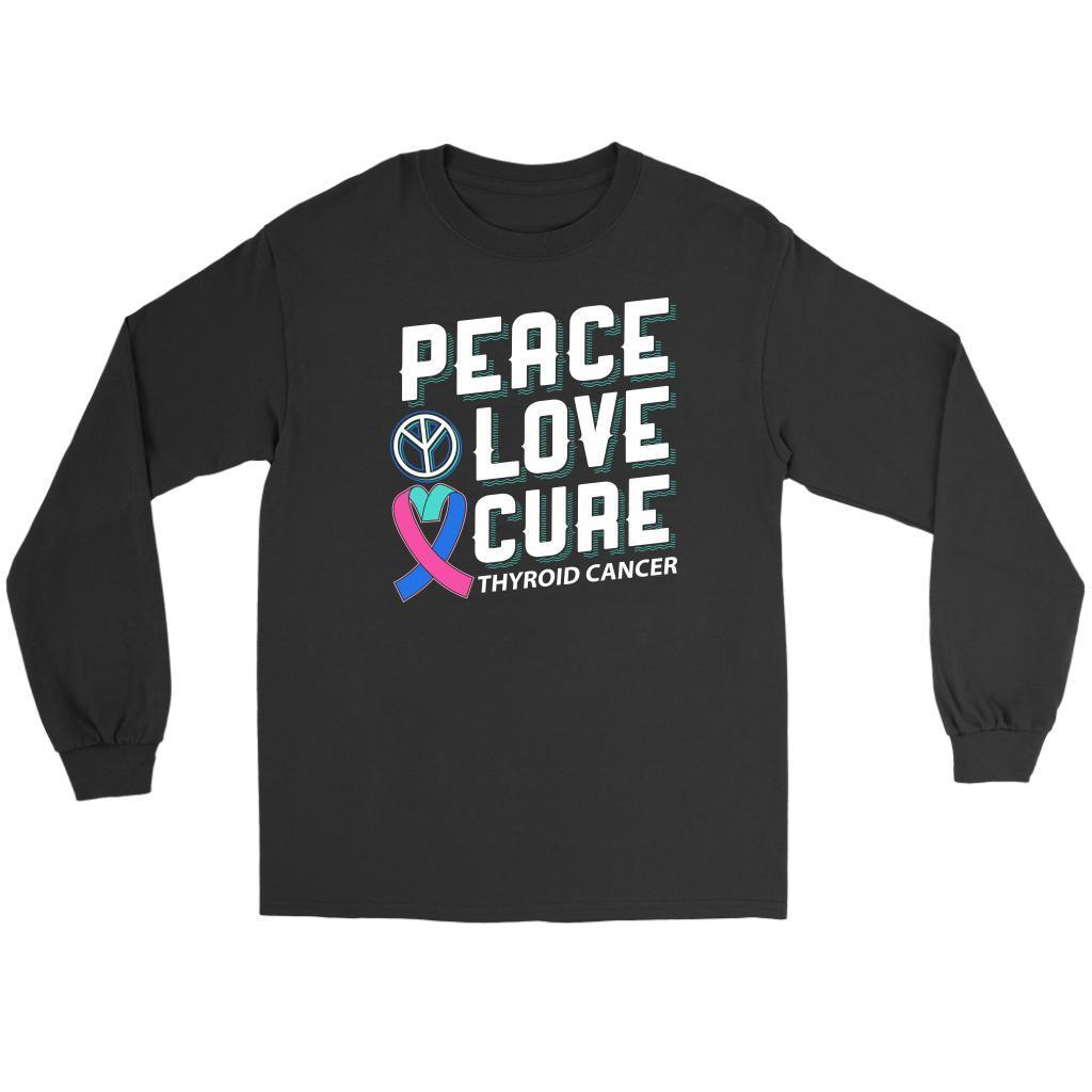 Peace Love Cure Thyroid Cancer Awareness Teal Pink Blue Ribbon Gift Long Sleeve-T-shirt-Gildan Long Sleeve Tee-Black-JoyHip.Com