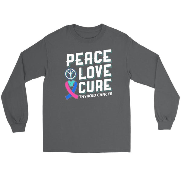 Peace Love Cure Thyroid Cancer Awareness Teal Pink Blue Ribbon Gift Long Sleeve-T-shirt-Gildan Long Sleeve Tee-Grey-JoyHip.Com