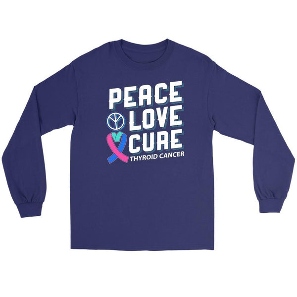 Peace Love Cure Thyroid Cancer Awareness Teal Pink Blue Ribbon Gift Long Sleeve-T-shirt-Gildan Long Sleeve Tee-Purple-JoyHip.Com