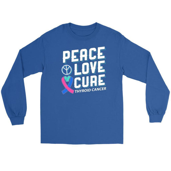 Peace Love Cure Thyroid Cancer Awareness Teal Pink Blue Ribbon Gift Long Sleeve-T-shirt-Gildan Long Sleeve Tee-Royal Blue-JoyHip.Com
